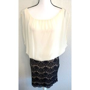 Lucy & Co. white & black lace dress size medium 40